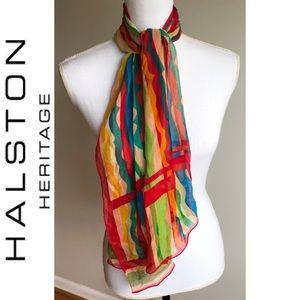 Vintage Signed Halston Silk Scarf